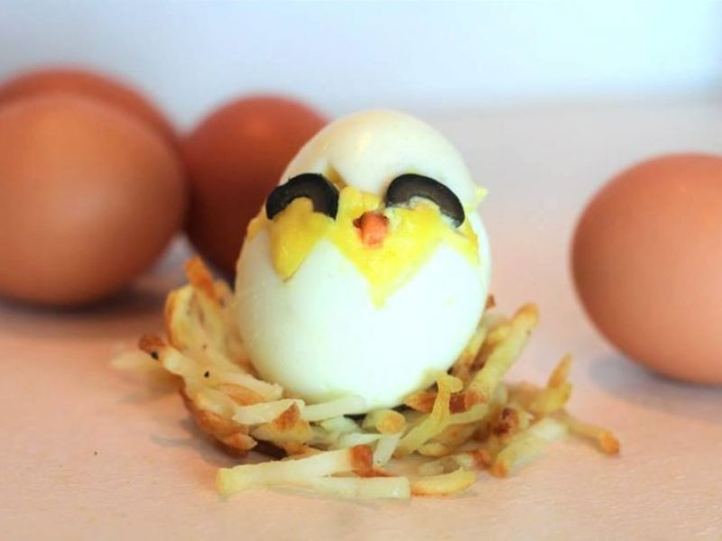 Deviled Egg Chicks in Hash Brown Nests