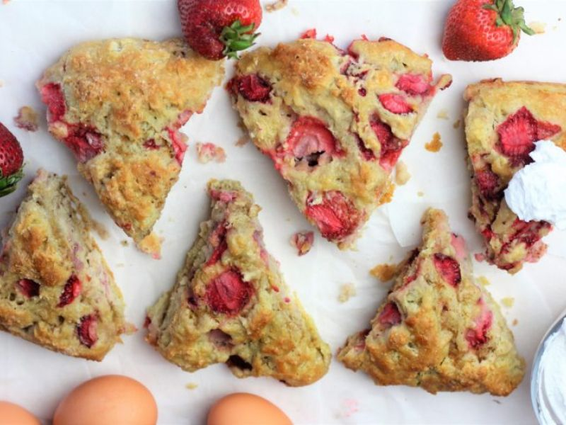 Strawberry Shortcake Scones with Whipped Coconut Milk