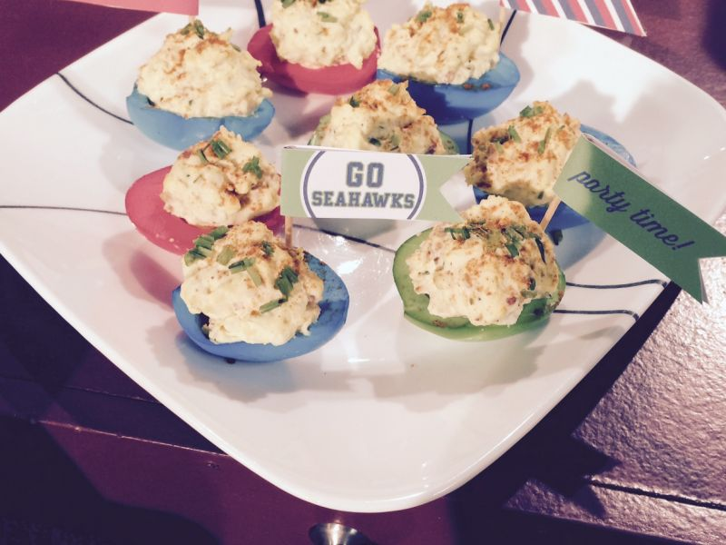 Game Day Bacon and Cheddar Deviled Eggs